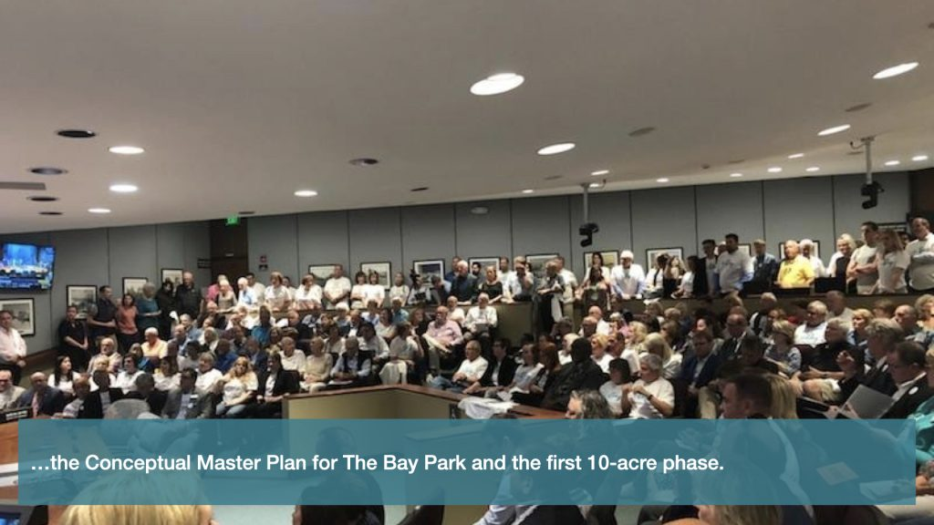 …the conceptual Master Plan for The Bay Park and the first 10-acre phase.