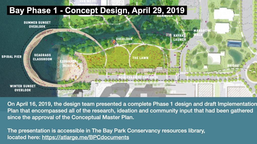 On April 16th, 2019, the design team presented a complete Phase 1 design and draft implementation plan that encompassed all of the research, ideation and community input that had been gathered since the approval of the conceptual Master Plan.