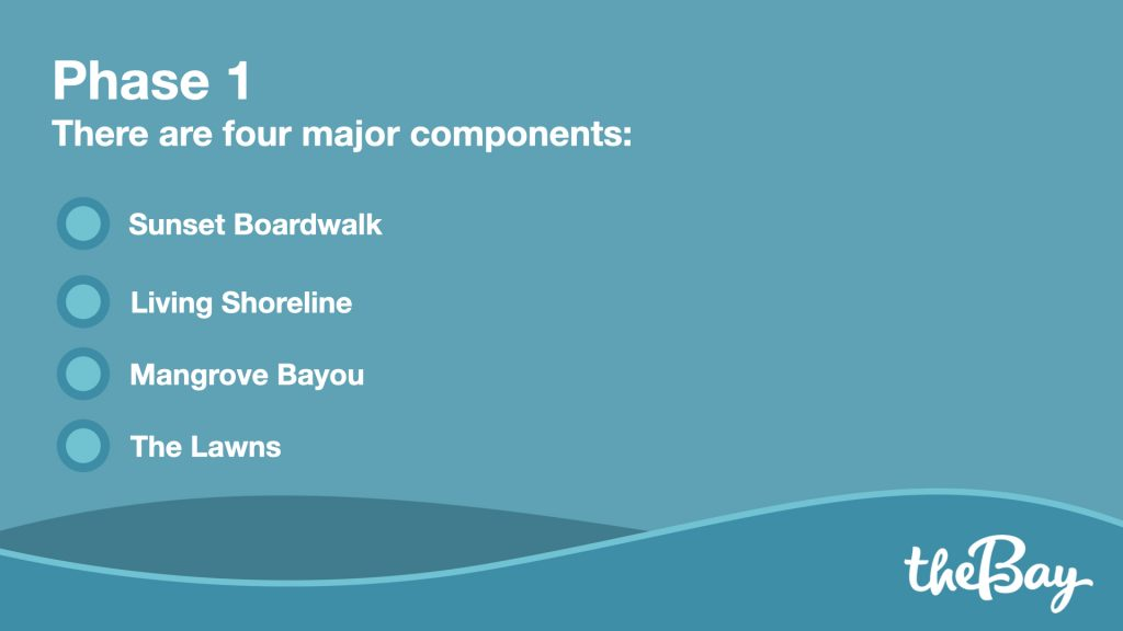 There are four major components: Sunset Boardwalk, Living Shoreline, Mangrove Bayou, The Lawns