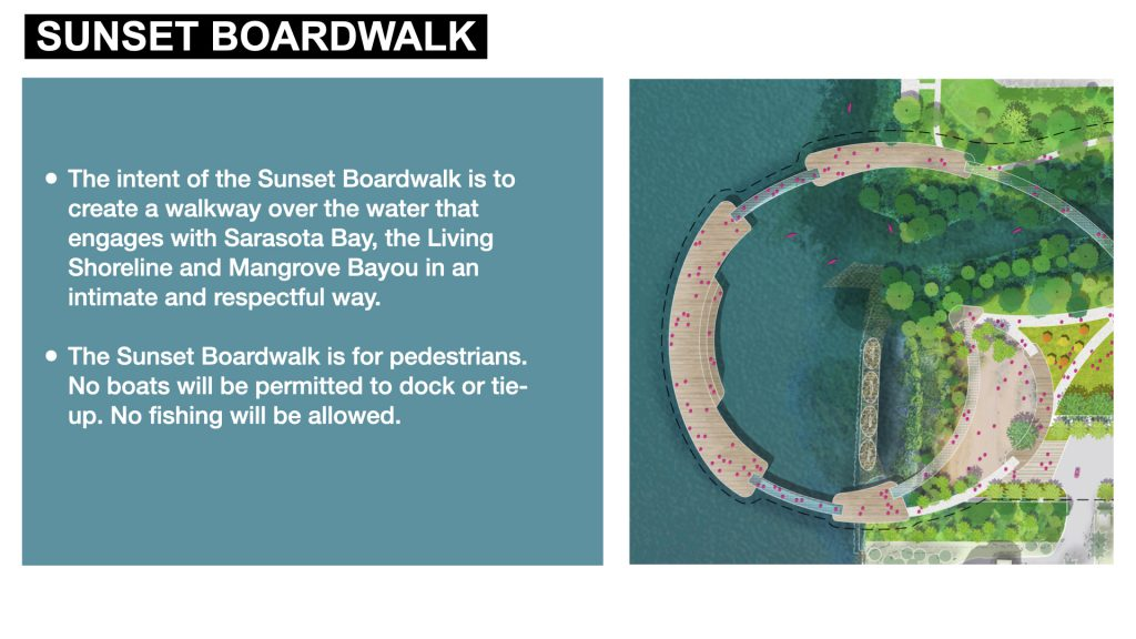 The intent of the Sunset Boardwalk is to create a walkway over the water that engages with Sarasota Bay, the Living Shoreline and Mangrove Bayou in an intimate and respectful way.   The Sunset Boardwalk is for pedestrians. No boats will be permitted to dock or tie-up. No fishing will be allowed.