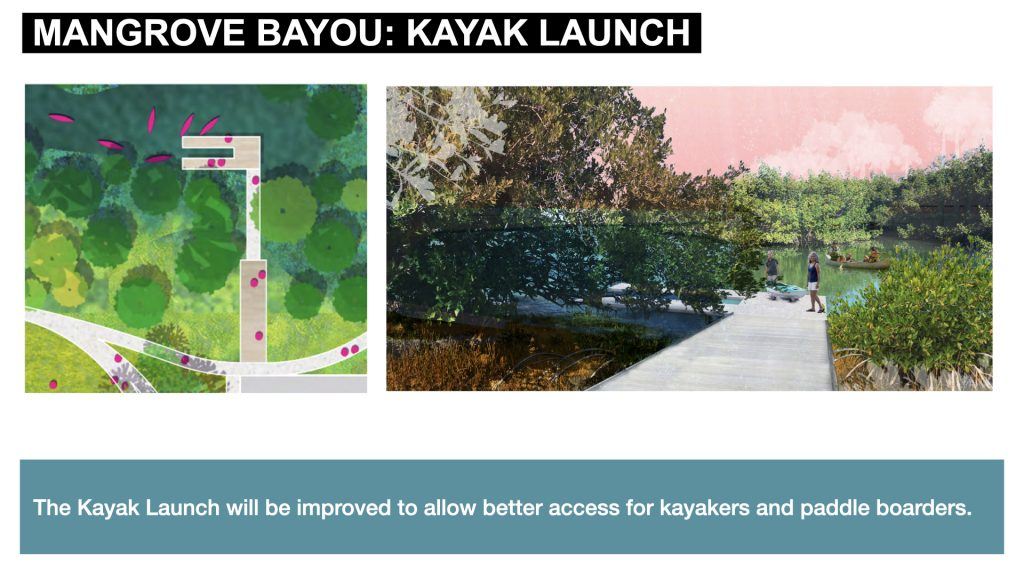 The Kayak Launch will be improved to allow better access for kayakers and paddle boarders.