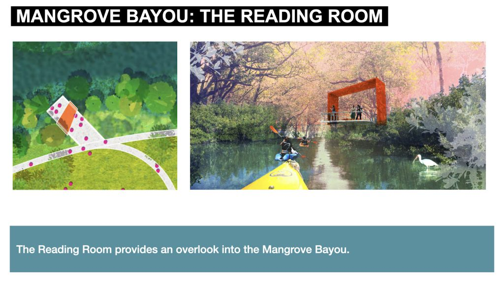 The Reading Room provides an overlook into the Mangrove Bayou.