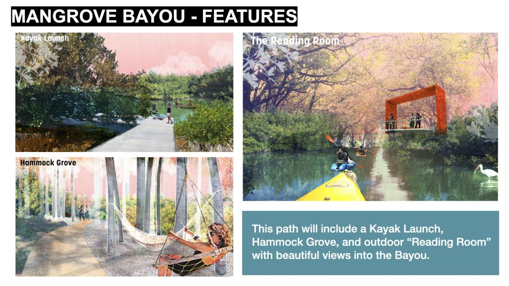 "This path will include a Kayak Launch, Hammock Grove, and outdoor ""Reading Room"" with beautiful views into the Bayou."