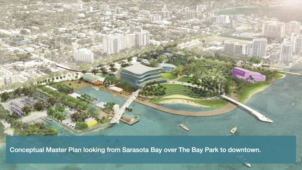 Conceptual Master Plan looking from Sarasota Bay over The Bay Park to downtown.