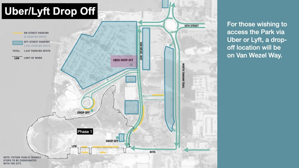 Uber Drop Off For those wishing to access the Park via Uber or Lyft, a drop-off location will be on Van Wezel Way.